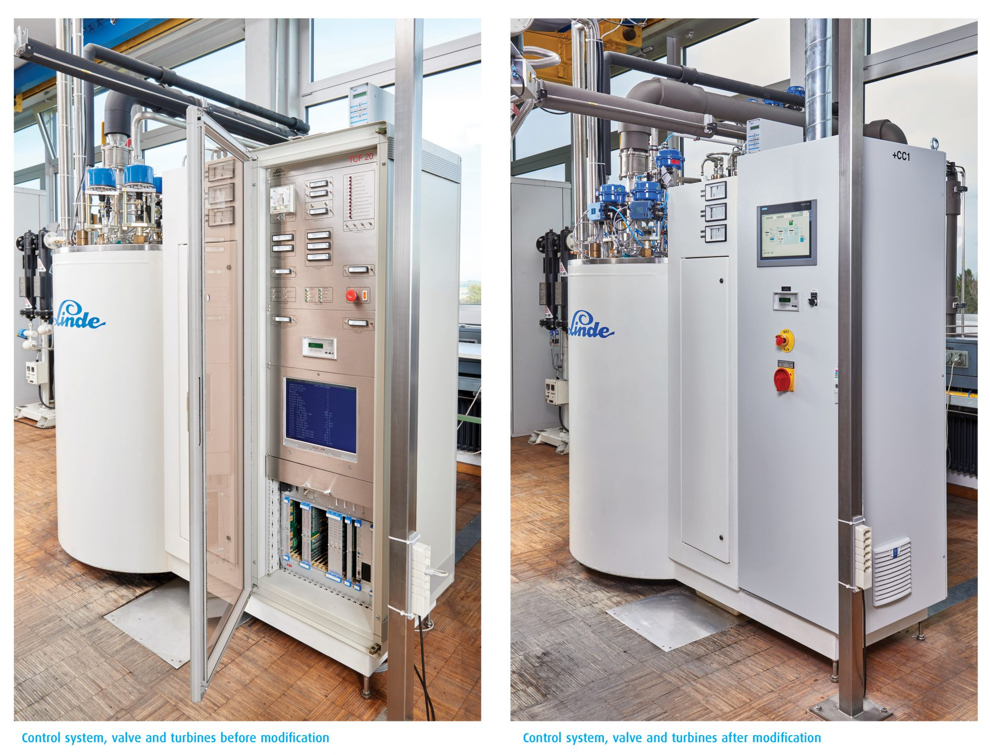 Control system, valves and turbines before and after modernization.