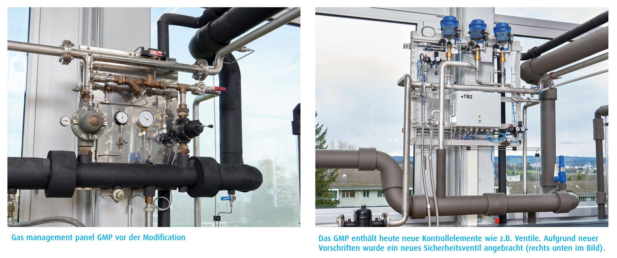 Gasmanagement Panel vor und nach dem Umbau