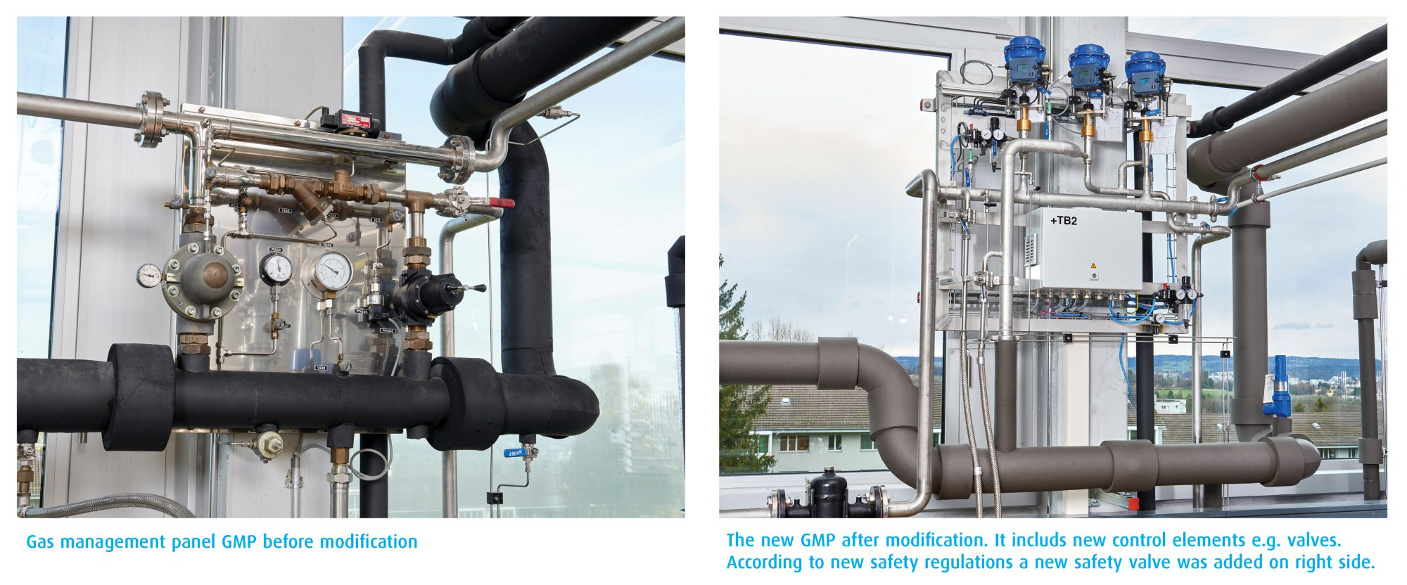 The gas management panel before and after modernization.